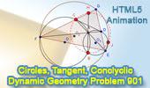 Problema de Geometría 901 (ESL): Circunferencias Secantes, Tangente Común Exterior, Triangulo, Puntos Cocíclicos