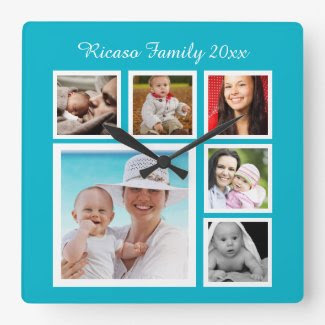 DIY Make Your Own Photo Collage Template Square Wallclock
