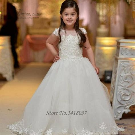 White First Communion Dress Prom Kids Pageant Gowns Lace