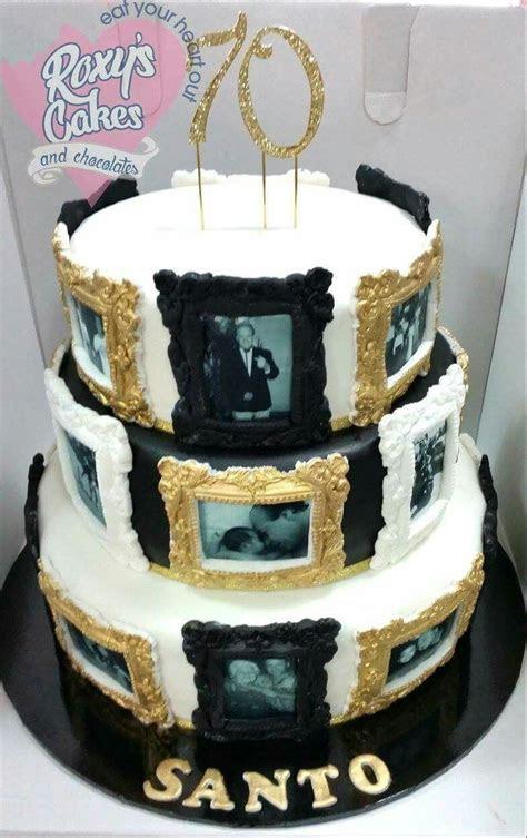 70th birthday cake. Black white gold. Photo frames. Edible