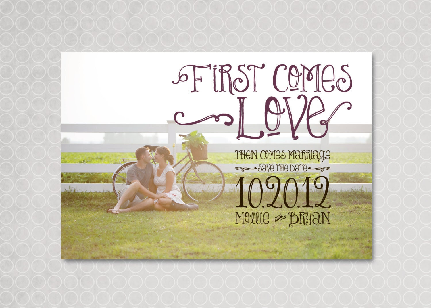 Modern Save the Date Magnet, Postcard, Photo, First Comes Love