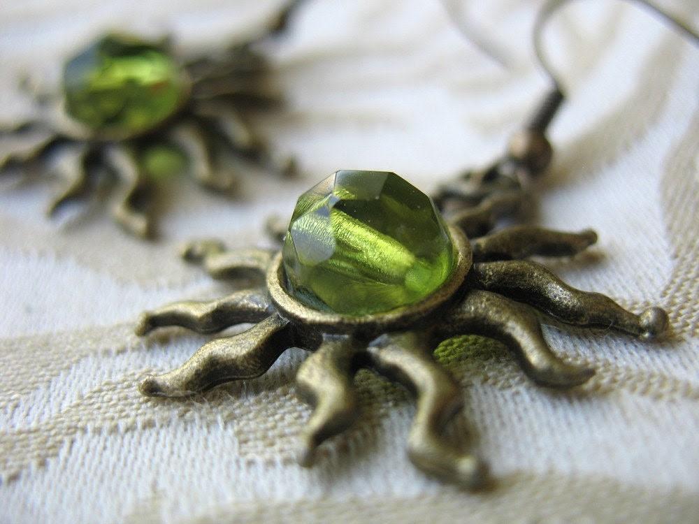 Earrings - Brass Sun and Green Glass