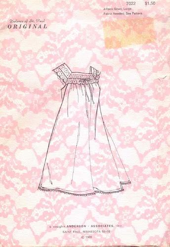 Vintage Nightgown Pattern, 1969