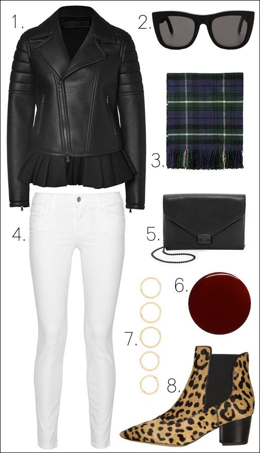 Le Fashion Blog --  Winter Style -- Neil Barrett Leather Biker Jacket with Layered Peplum, Topshop Plaid Scarf, Loeffler Randall Lock Clutch Bag, Luv AJ Rings Set, J Brand White Jeans, Tabitha Simmons Leopard Boots, Leighton Denny Burgundy Red Nail Polish in Passion -- photo Le-Fashion-Blog-Winter-Style-Leather-Peplum-Jacket-Plaid-Scarf-Chain-Bag-Luv-AJ-Rings-J-Brand-White-Jeans-Tabitha-Simmons-Leopard-Boots.jpg
