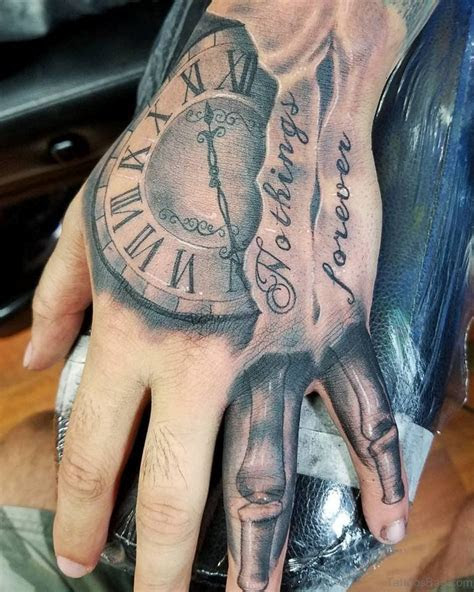 wording clock tattoo hand tattoos guys hand
