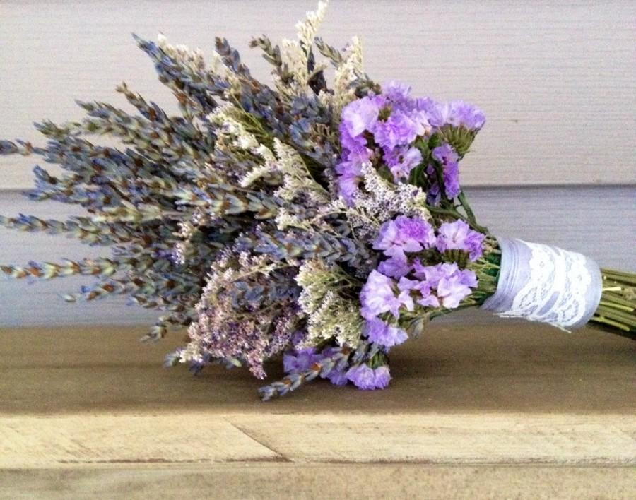 Simple Dried Flower Bridal Bouquet With Dried Lavender Caspia And Statice Wrapped With Lace 2442206 Weddbook
