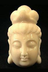 قلادة Hippo Ivory Kwanyin - أنثى Boddhisattva - 20th C