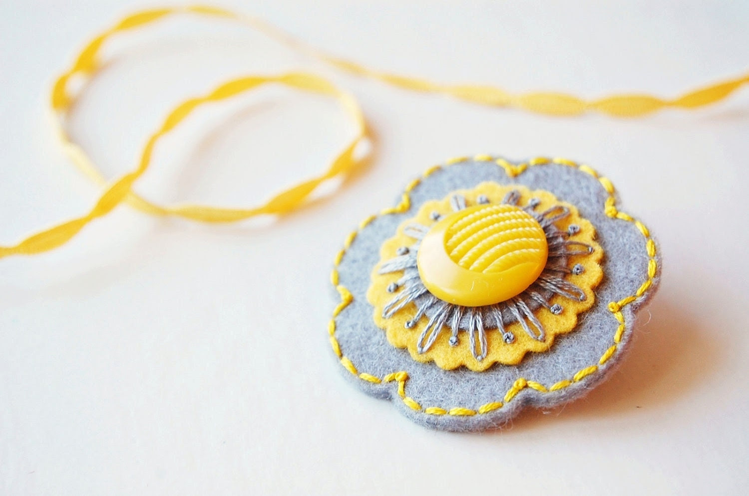 Gray and Yellow Embroidered Brooch
