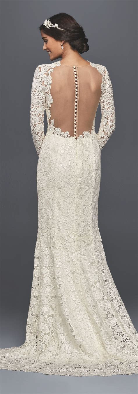 Long Sleeve Lace Wedding Dress with Open Back   David's