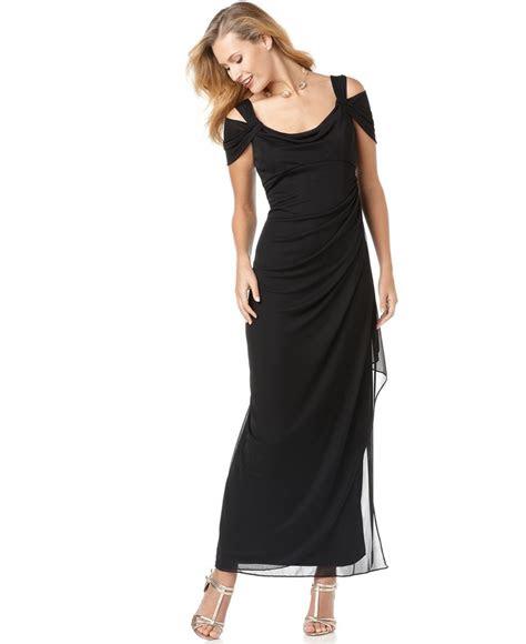 alex evenings dress sleeveless draped evening gown