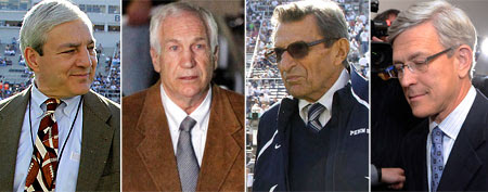 Ex-Penn State president Graham Spanier, former asst. coach Jerry Sandusky, former Penn State head coach Joe Paterno, suspended Penn State athletic director Tim Curley (AP)