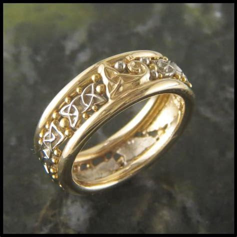 Custom Celtic Band in Two Tone 14K White and Yellow Gold