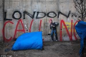 banksy artwork   calais jungle  defaced