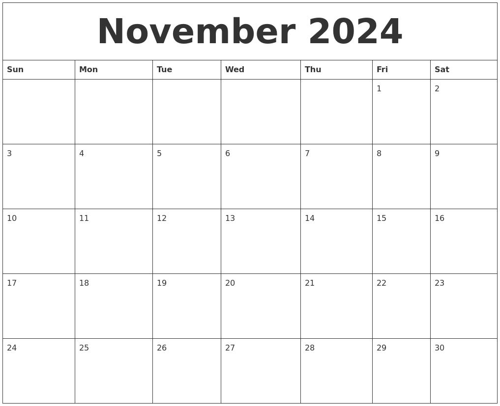 november 2024 free printable weekly calendar
