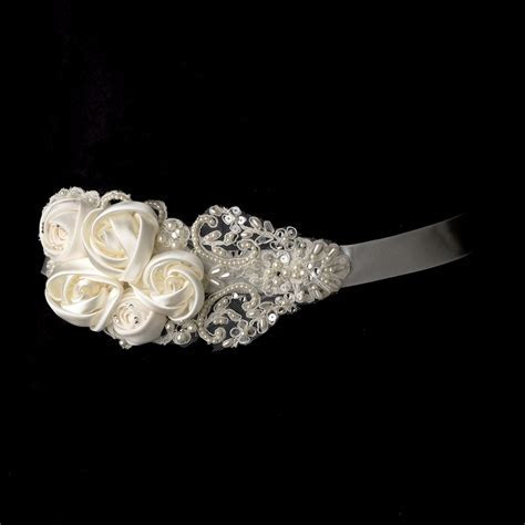 Decadent Bridal Flower Belt Sash with Rhinestone & Beaded