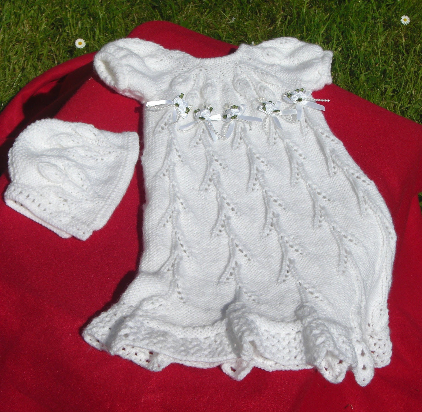 Hand Knitted  Christening Gown  - Floral Trellis Pattern. ( Future Heirloom).version 1.