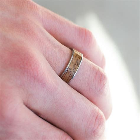 Gold And Wood Wedding Band In Mahogany   Casavir Jewelry