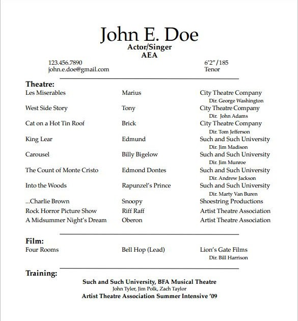 How To Make A Theater Resume Free Resume Templates