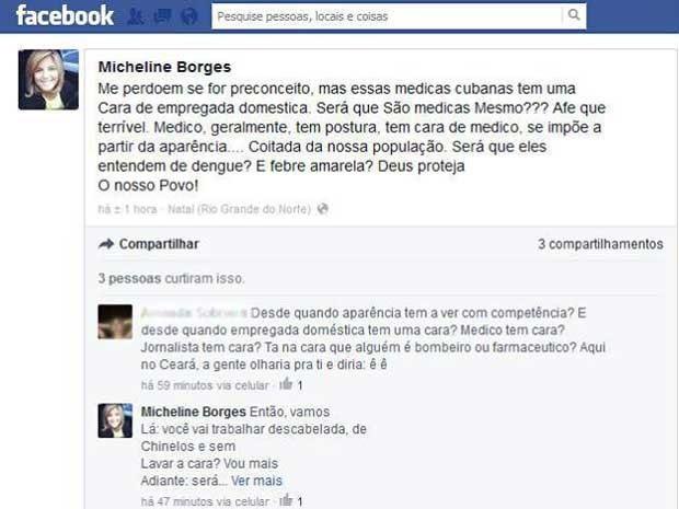 Mensagem gerou polêmica nas redes sociais nesta terça (Foto: Reprodução/Facebook)