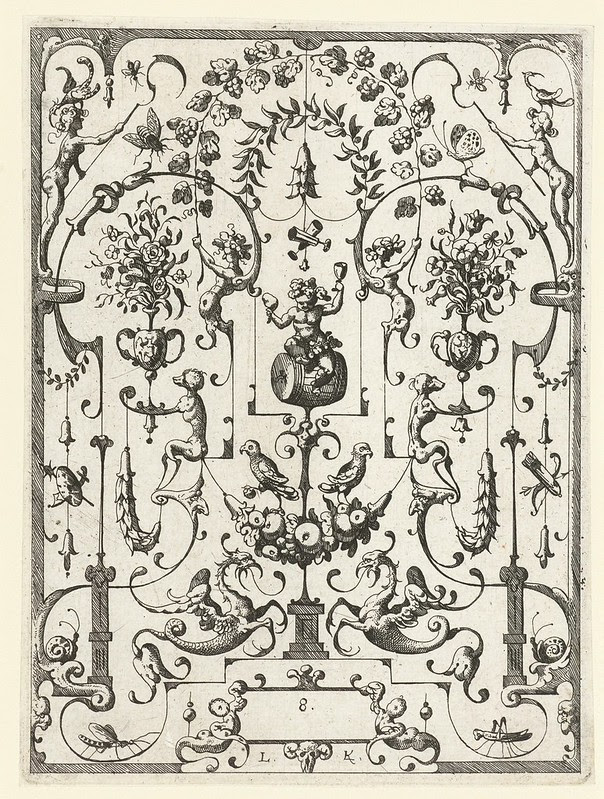 Bacchus sitting under an arch of vines, flanked by flower vases held by monkeys by Lucas Kilian (1607) j