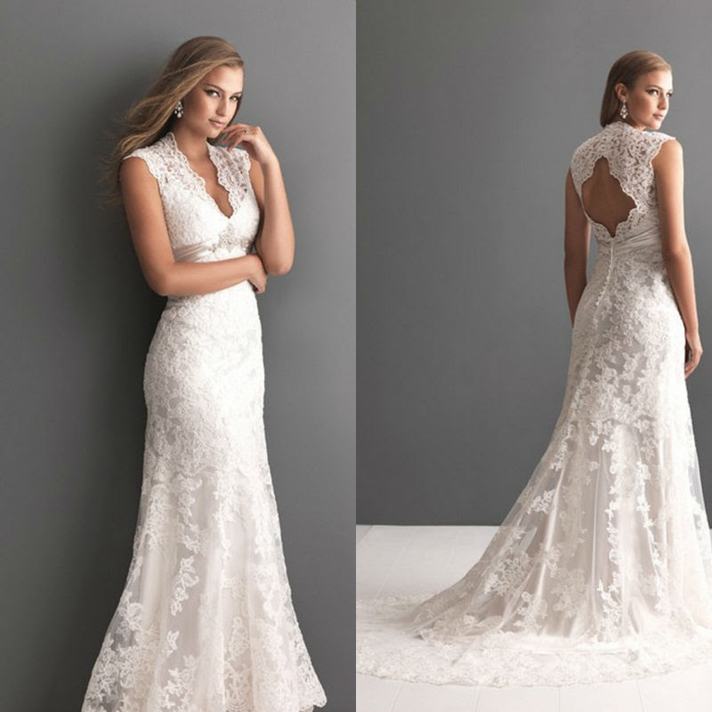 sensual a line lace keyhole back wedding dress with v neckline