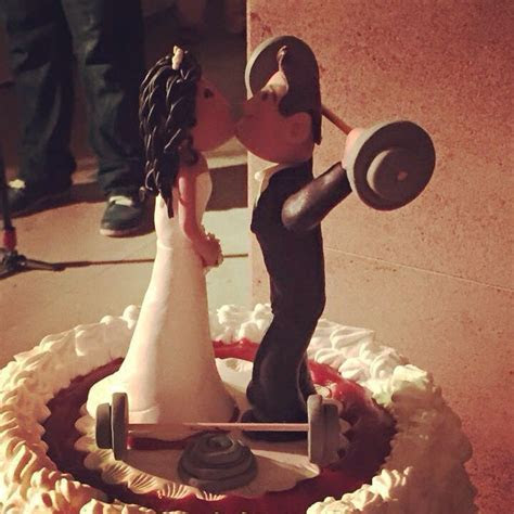 Personalised wedding. Cake topper for Gym junkies. Made in