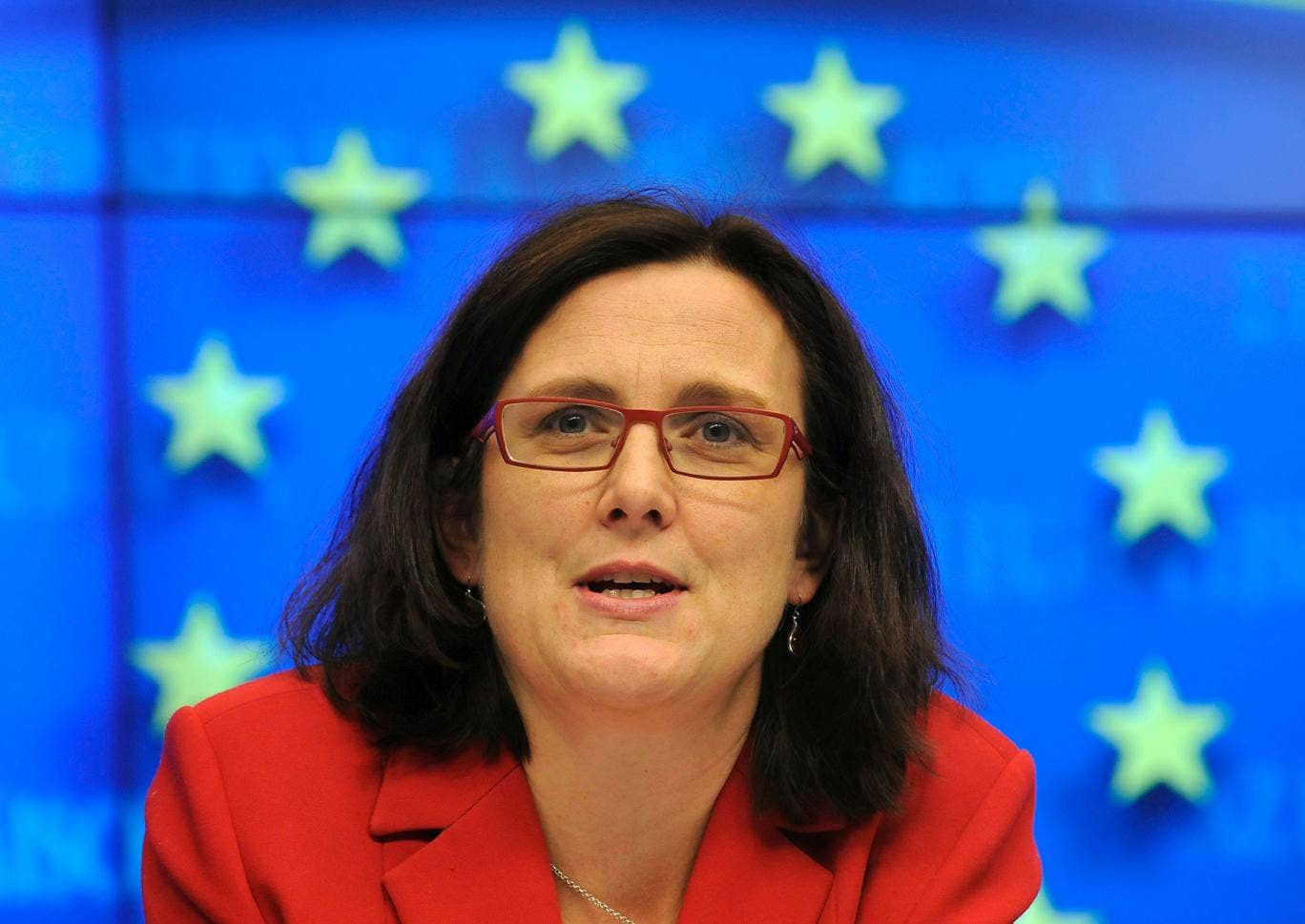Cecilia Malmstrom at a press after the Justice and Home Affairs Council on November 8, 2010