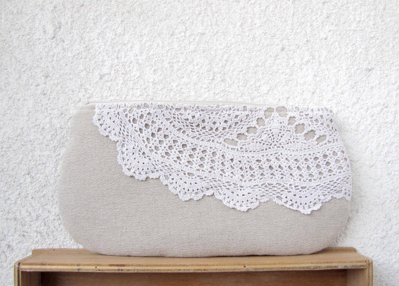 Romance - OOAK Linen and Vintage Doily piece Clutch Purse