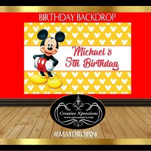 Mickey Mouse On Polka Dots Yellow Backdrop