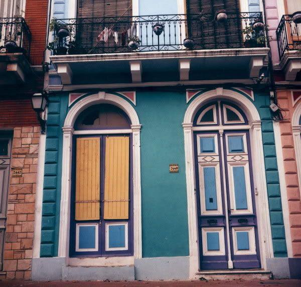 Doors with colors and broken window