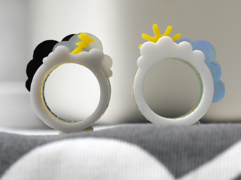 Oh, Happy Day / Oh, Crappy Day Ring Set (Medium, Acrylic)