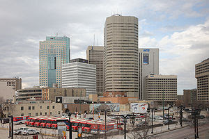 Downtown Winnipeg, Manitoba, Canada. The downt...