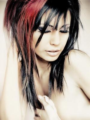 Schwarze Haare Mit Roten Strähnen Blonde Haare Mit Dunklen Strähnen