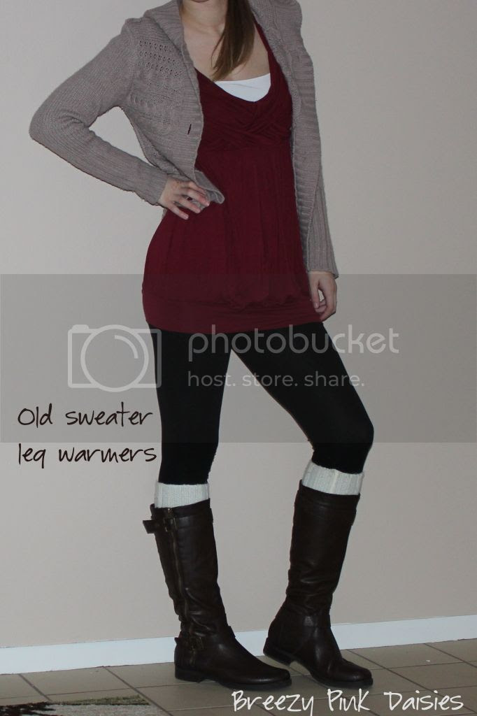 Sweater sleeve leg warmers to wear with boots - no sew DIY