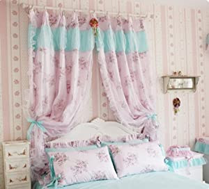 Amazon.com - Korean Style Vintage Pink Curtains for Girls Room ...