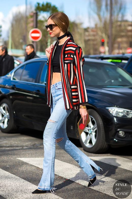 Le Fashion Blog Blogger Style Cat Eye Sunglasses Red Lips Low Ponytail Black Velvet Choker Bold Striped Isabel Marant Jacket Distressed Flared Jeans Heels Via Style Du Monde