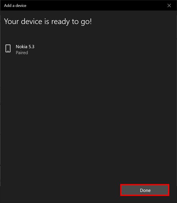 Su teléfono se conectó correctamente a su computadora portátil o PC con Windows 10
