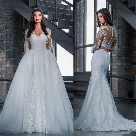 Fashion Lace Wedding Dresses With Detachable Skirt 2016