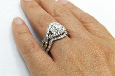 Engagement Ring  Cushion Diamond Swirl Halo Intertwined