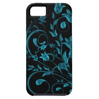 Cyan floral Swirl Cover For iPhone 5