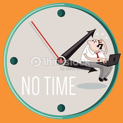 Cartoon Of Man Sitting On A Clock And Running Out Of Time Vector Art