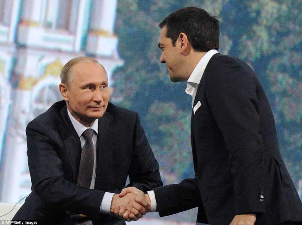 Greek Prime Minister Alexis Tsipras met with Russian President Vladimir Putin on Friday evening in St Petersburg, but the question of Russian financial aid for Greece was not discussed, Putin's spokesman said