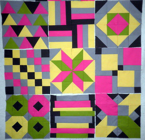 Blocks 1 thu 9 of the Modern Solids Patchwork Squared Quilt Along