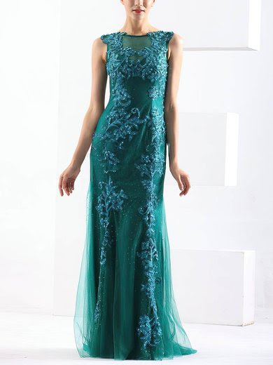 Sheath/Column Scoop Neck Tulle Sweep Train with Beading Prom Dresses #UKM020103791
