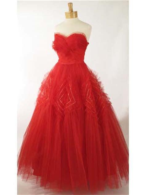 50's Vintage Dresses 50s Strapless Red Tulle Evening Dress
