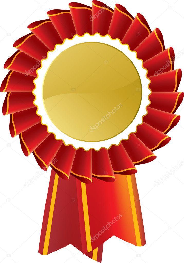Red award seal rosette — Stock Vector © rtguest #9198167