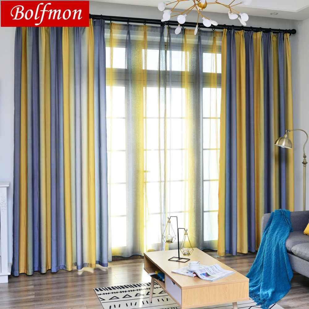 4 Colors Nordic Simple Yellow Curtains For Living Dining
