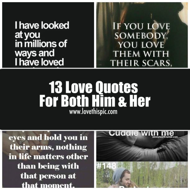 13 Love Quotes For Both Him Her