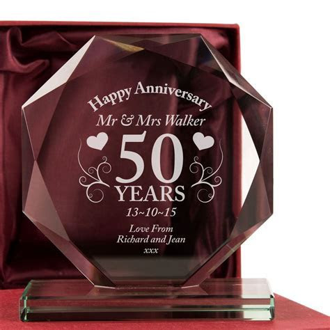 Personalised 50th Anniversary Cut Glass Frame Gift Plaque