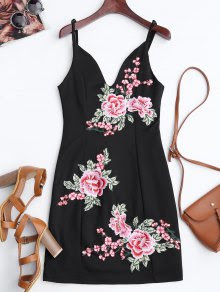 Floral Mini vestido de Bodycon bordado